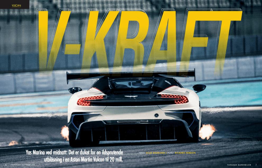 V-kraft med Aston Martin, oppslag
