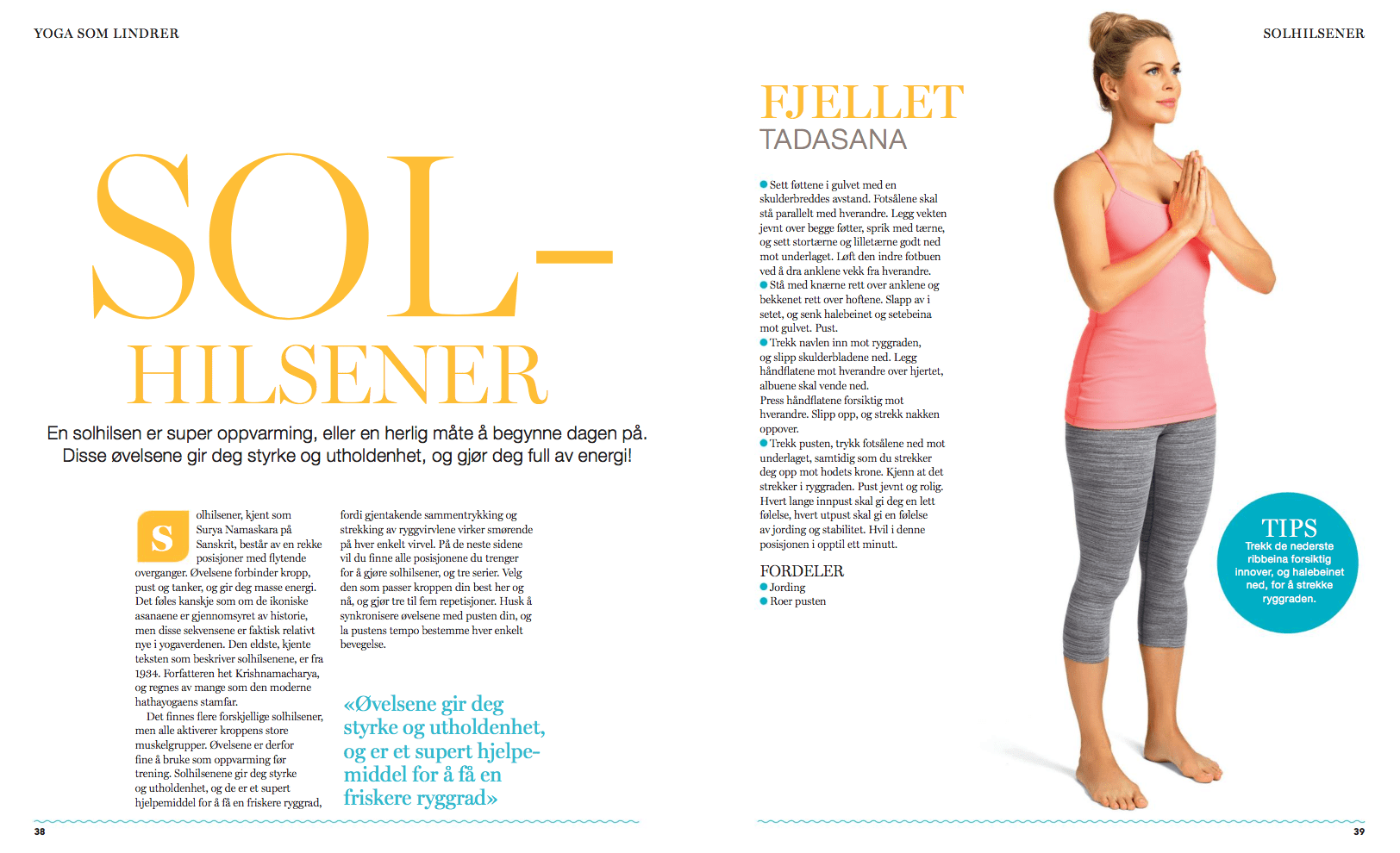 Yoga: solhilsener, oppslag