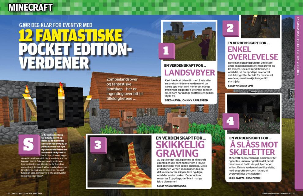Minecraft: Gjør deg klar for eventyr med 12 fantastiske Pocket Edition-verdener., oppslag