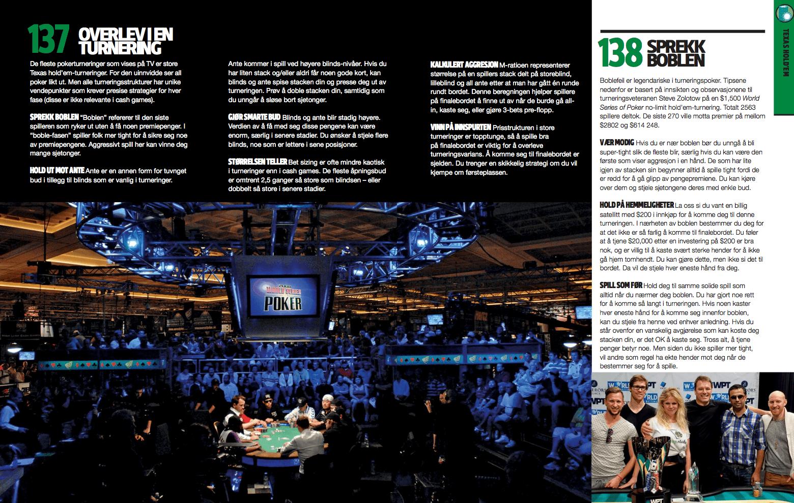Poker: overlev i en turnering, oppslag