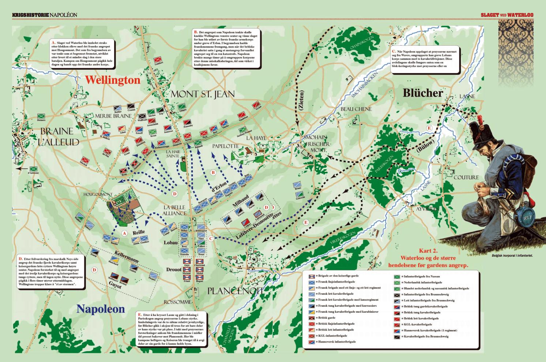 Waterloo og de større hendelsene før gardens angrep.