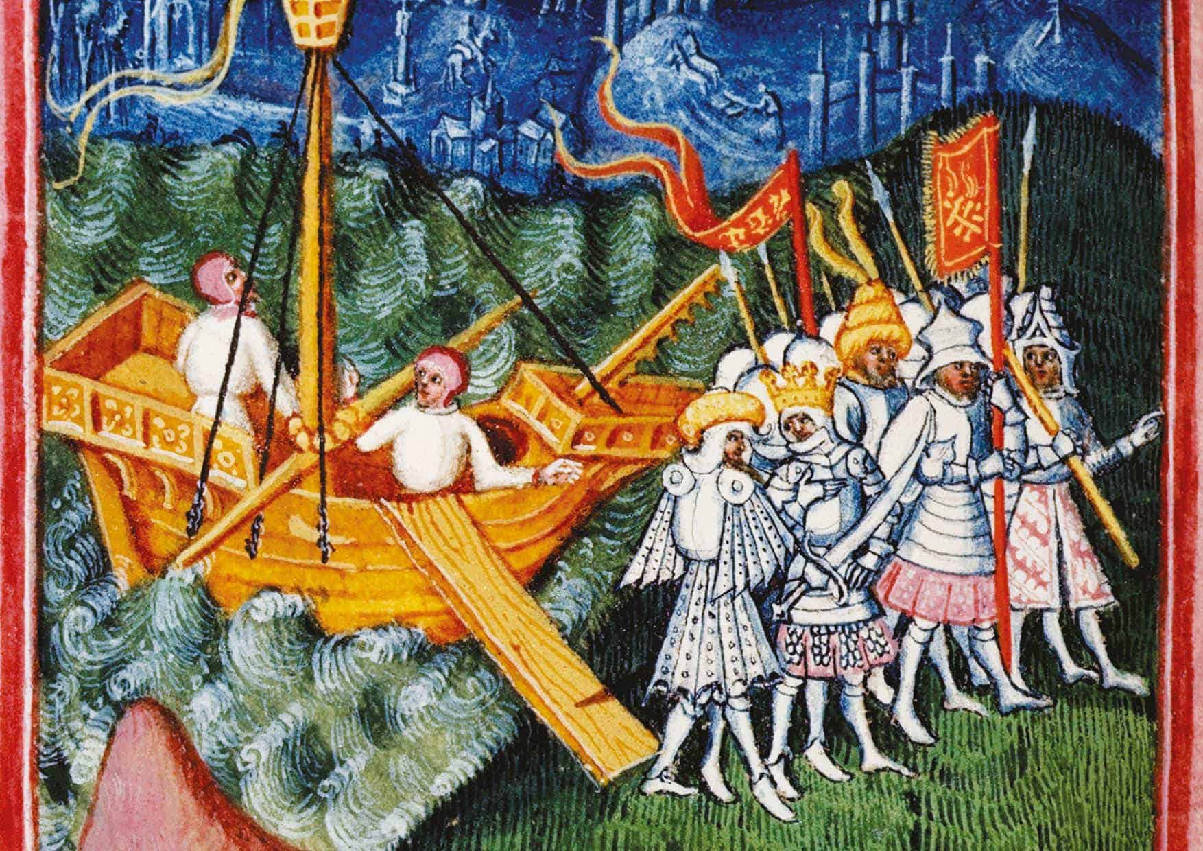 Svein ankommer England på en illustrasjon fra Lives of Saints Edmund and Fremund (1434–44). Danskens mål var å kue engelskmennene med frykt – og strategien virket.